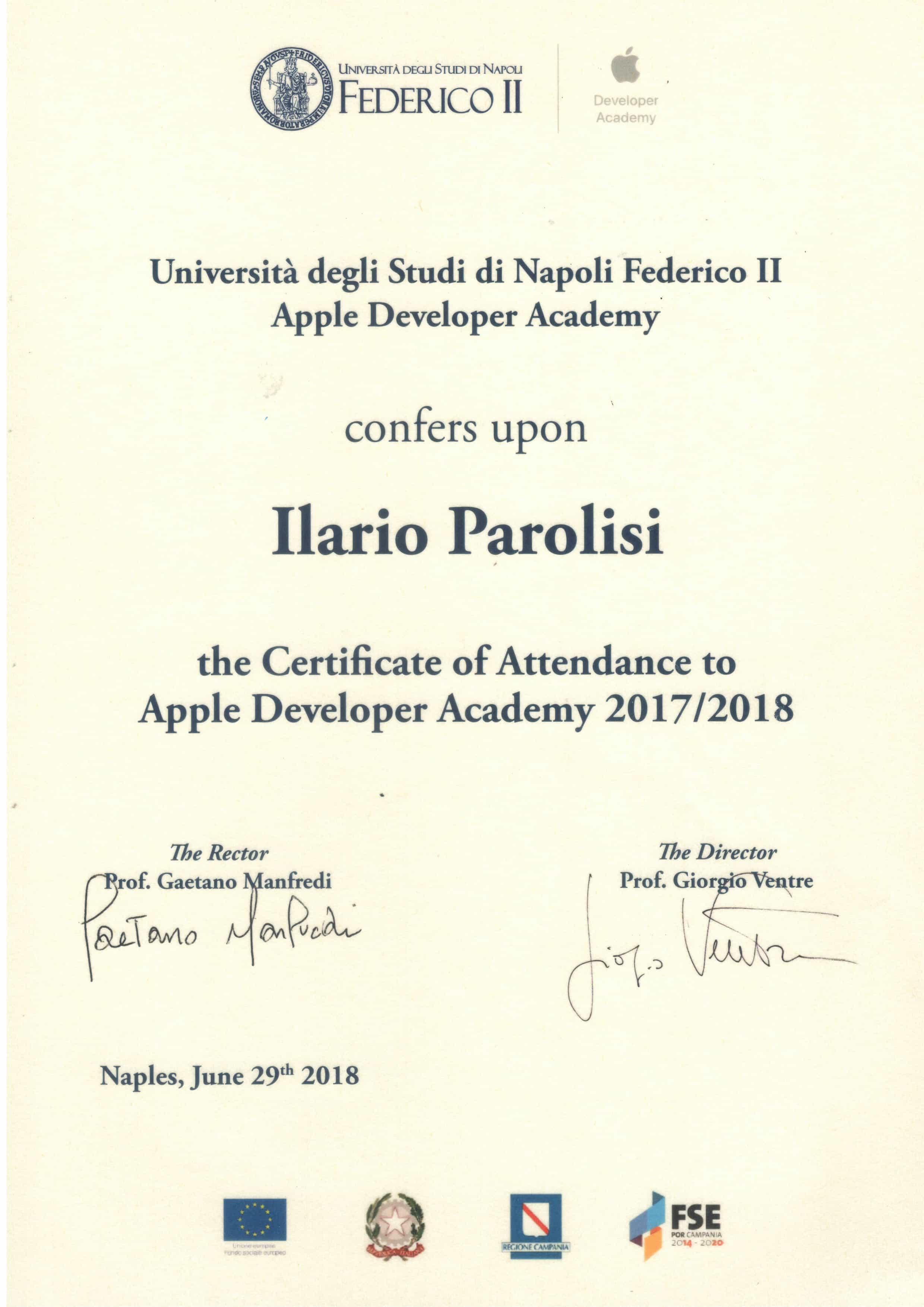 developer apple certificate ilario academy